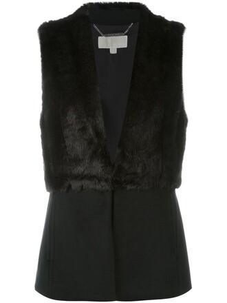 jacket sleeveless fur faux fur women black