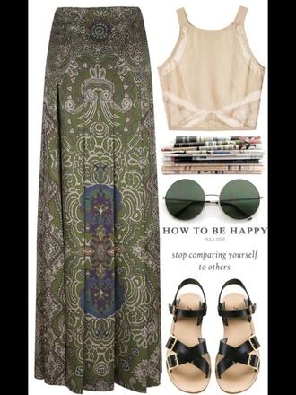 skirt maxi skirt green pattern
