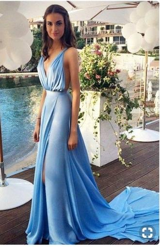 dress prom formal gown train tan blue dress