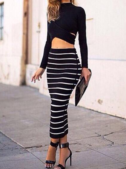 Black crew neck hollow plain crop top with white pinstripe skirt