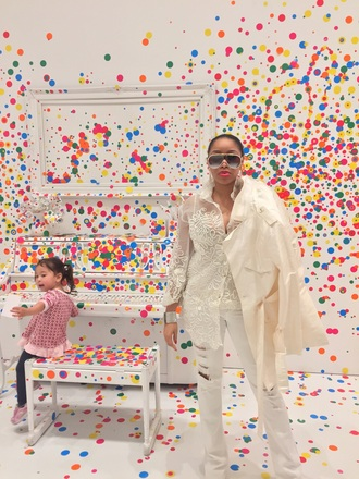 sunglasses white silk gold pop art art luxury london paris new york city gucci prada valentino escada trench coat all white everything streetwear fashion yayoi kusama blogger