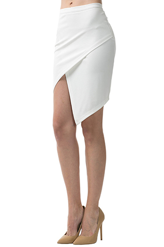 skirt trendyish asymmetrical uneven hem white wrap tight bodycon