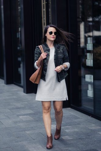 live more beautifully blogger jacket sweater dress shoes bag sunglasses jewels fall outfits camo jacket mini dress ankle boots