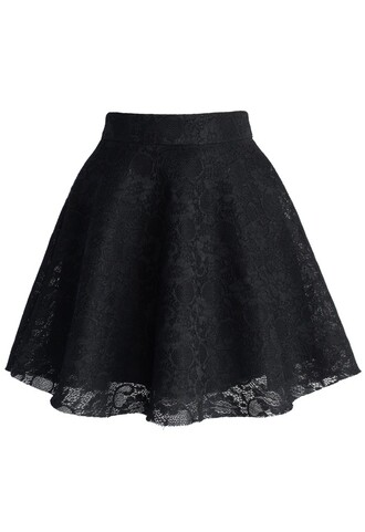 chicwish full lace skirt black skater skirt