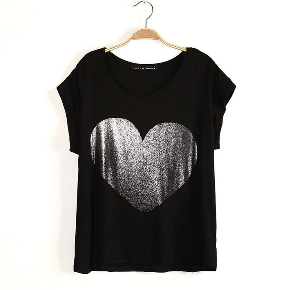 2014Korean Style New Fashion Woman Big Heart Printed T Shirt Casual Women's T Shirts Female Short Sleeve Women Tee Free Shipping-in T-Shirts from Apparel & Accessories on Aliexpress.com