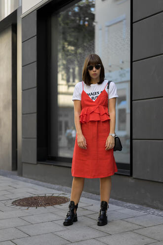 dress boots tumblr red dress midi dress booties ankle boots t-shirt white t-shirt bag ruffle ruffle dress shoes