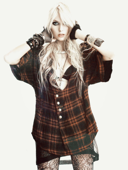 tights black blouse flannel rock taylor momsen the pretty reckless red
