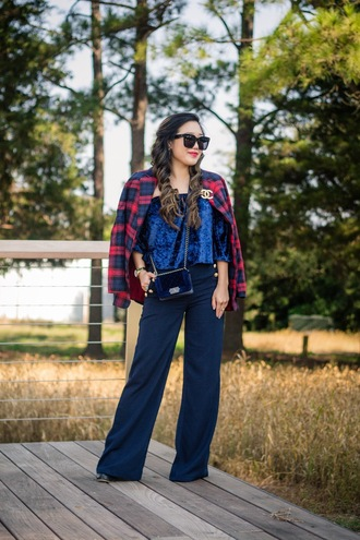 gracefullee made blogger top pants jacket bag sunglasses make-up shoes jewels blue top plaid jacket wide-leg pants crossbody bag printed blazer