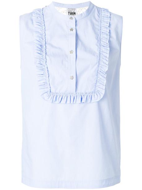 Twin-Set blouse sleeveless women cotton blue top