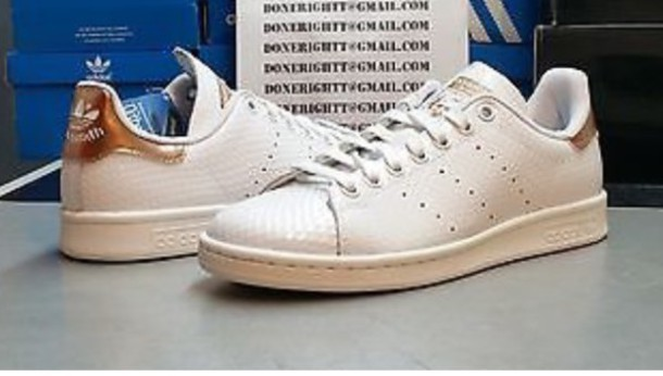 shoes, adidas, adidas originals, stan smith, rose gold, adidas shoes, sneakers, fashion - Wheretoget