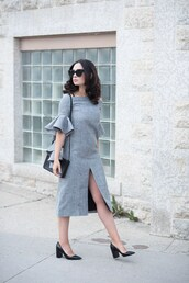 dress,tumblr,midi dress,slit dress,grey dress,bell sleeves,ruffle,pumps,black pumps,sunglasses,bag,black bag,shoes