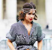 jewels,head jewels,streetstyle,beaded,pearl,rhinestones,tweed,boho jewelry,headpiece,bling,accessories,Accessory,jewelry,blogger,fashion,style,miroslava duma,shot from the street