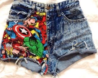 shorts marvel denim
