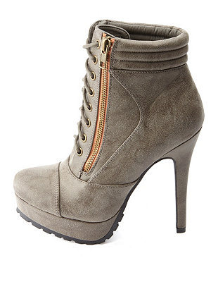 Up high heeled combat booties: charlotte russe
