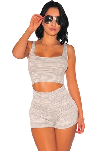 romper dress summer cut-out marled grey white and grey sexy chic wots-hot-right-now jumpsuit casual sleeveless