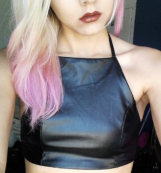 top black leather crop tops fashion style hair open back
