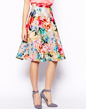 ASOS | ASOS Scuba Midi Skirt In Neon Floral at ASOS
