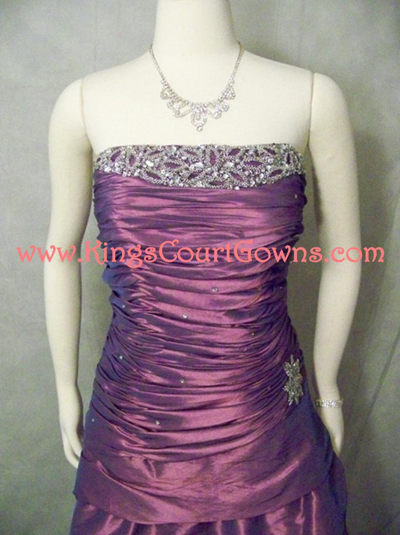 Size 12 purple taffeta corset cocktail prom homecoming dress gown