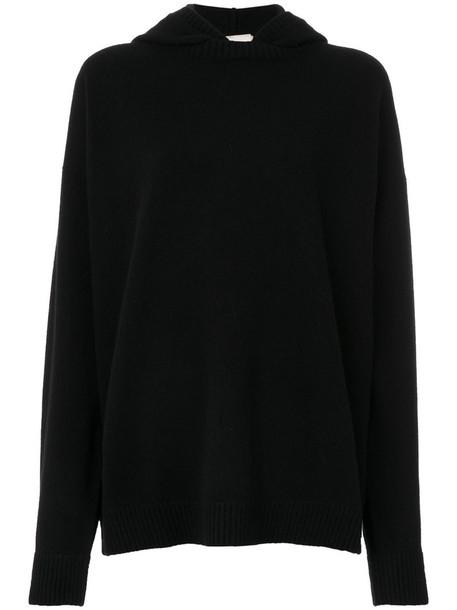 Fine Edge - hooded jumper - women - Cotton/Cashmere/Virgin Wool - XS, Black, Cotton/Cashmere/Virgin Wool