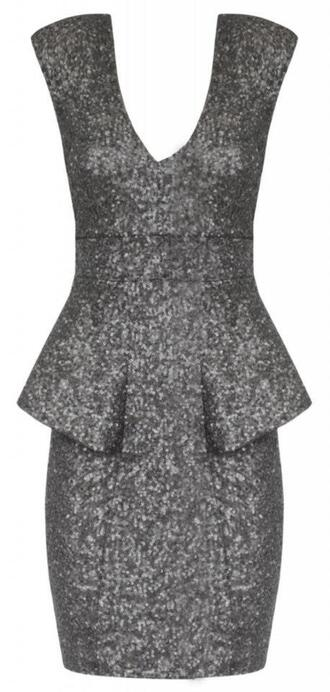 dress grey gunmetal sequin dress sequins peplum dress sexy sexy party dresses wedding clothes cocktail dress