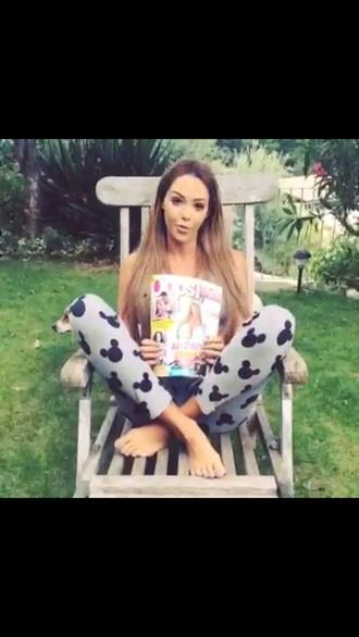 nabilla grey pajamas disney mickey mouse pants