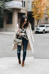 crystalin marie,blogger,sweater,coat,jeans,shoes,bag,sunglasses,gucci bag,ankle boots,fall outfits,white coat