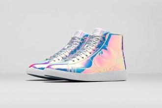 shoes holographic rainbow sneakers adidas metallic shoes high top sneakers nike blazer nike highcut