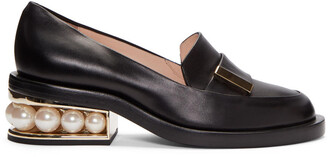 pearl loafers black shoes