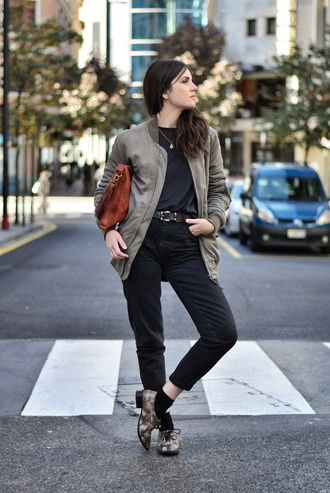blogger khaki jeans bomber jacket views by laura leather bag