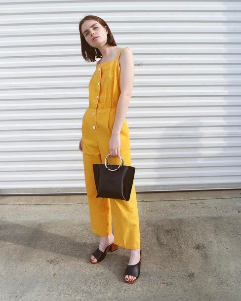 53b1026812b jumpsuit double3xposure yellow jumpsuit yellow bag black bag shoes mules  spring outfits blogger