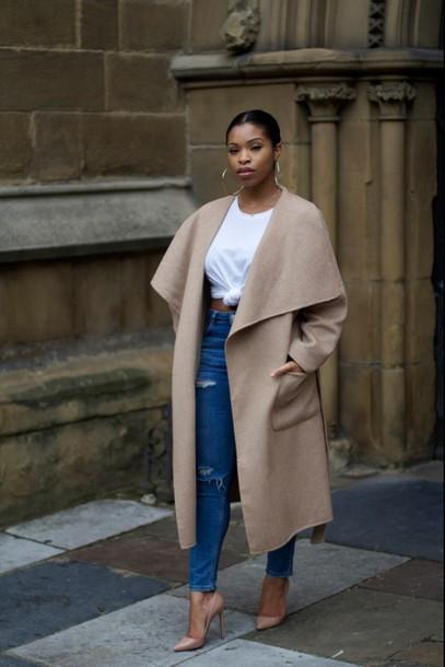 jacket paige big paige coat buttons button light colored black girls killin it jeans coat white shirt shoes denim pants heels style trendy tan coat