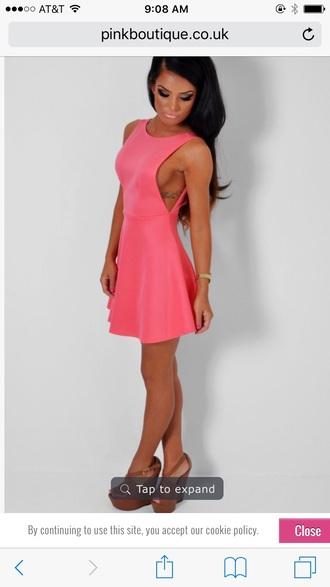 dress open back dresses fit and flare dress coral dress pink dress mini dress