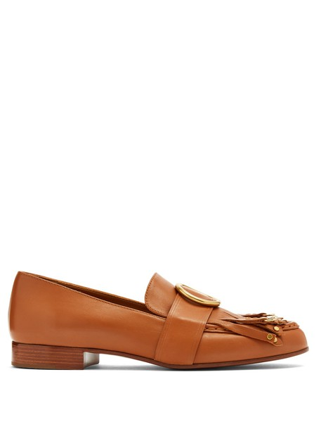 Chloe embellished loafers leather tan shoes