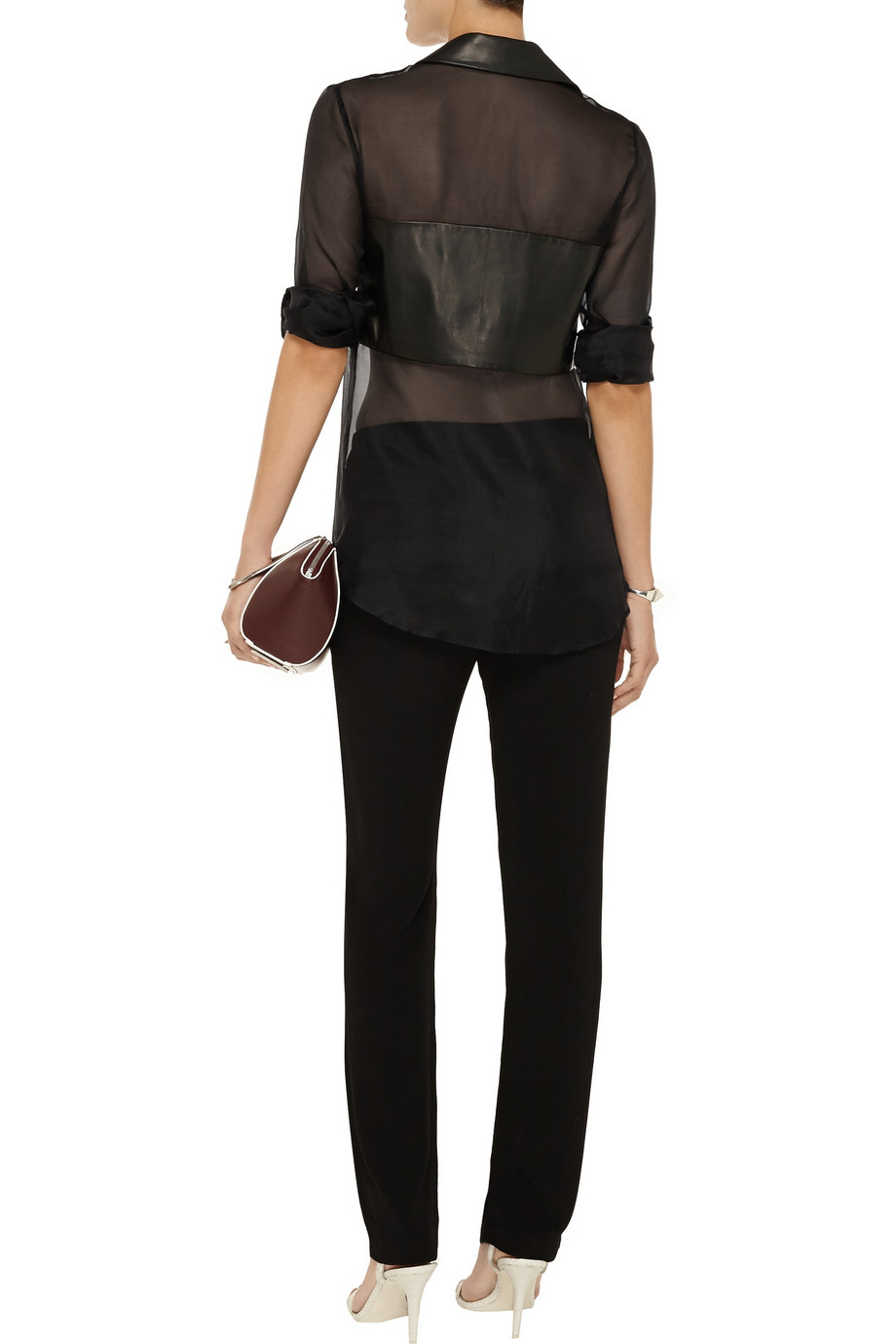 Thakoon Addition Leather-paneled silk-organza shirt – 60% at THE OUTNET.COM