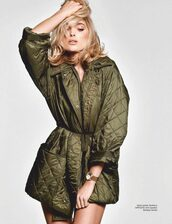 jacket,khaki,olive green,celebrity,editorial,elsa hosk,model