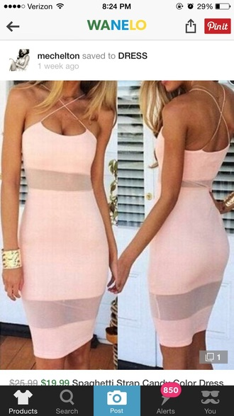 dress light pink mesh