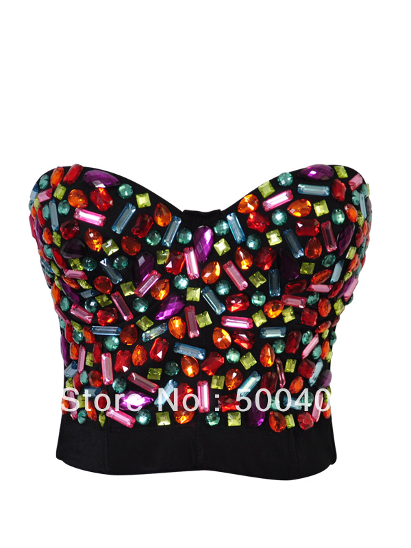 Wholesale   Sexy Punk Rock Sequined Gem Bead Spike Studs Rivet Bra Bralet Dancer Clubwear top 921-in Bras from Apparel & Accessories on Aliexpress.com