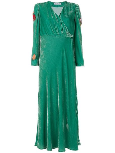 VIVETTA dress velvet dress women embellished silk velvet green