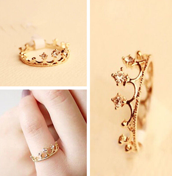 Women gold filled crystal rhinestone crown ring finger jewelry one jt99