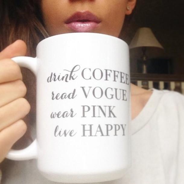 make-up blogger trend blogger coffee vogue magazine pink happy lip gloss mug
