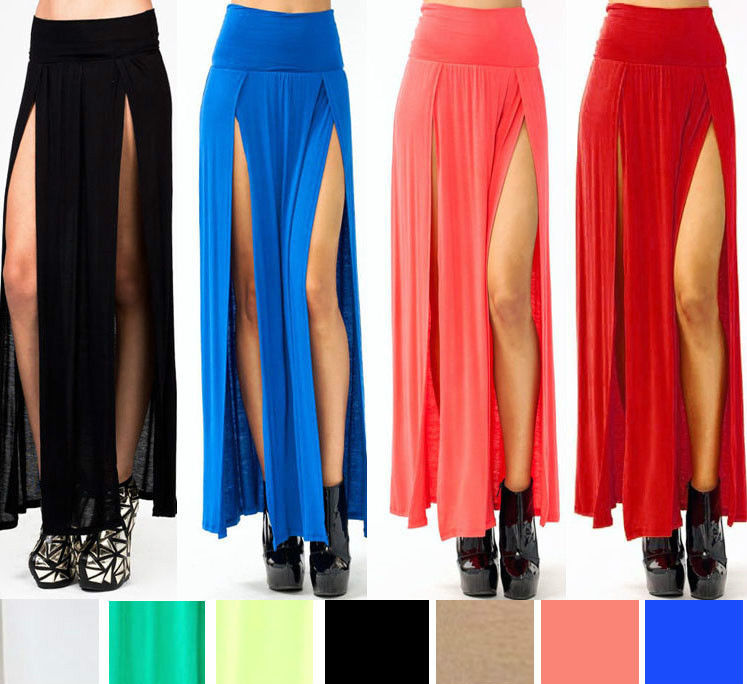 USA Sexy Trends High Waisted Double Slits Open Rayon Knit Long Maxi Skirt s M L | eBay