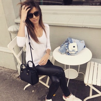 eleanor calder white leather pants top leggings sunglasses