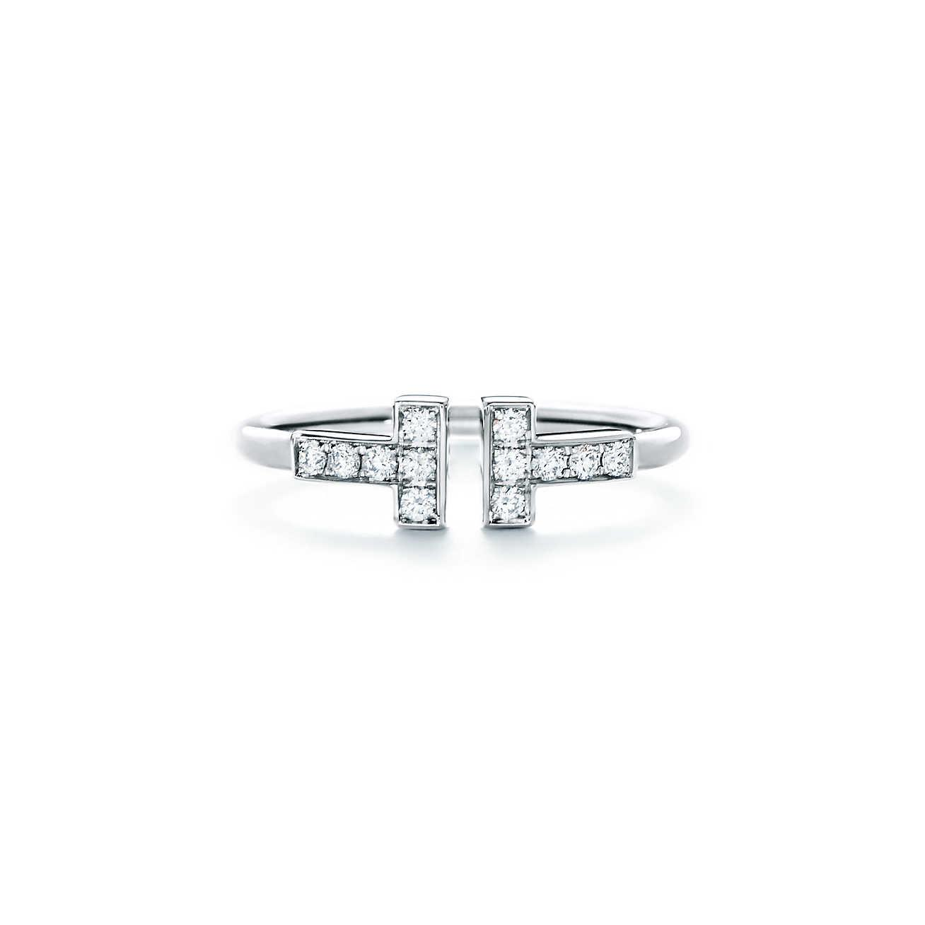 Tiffany T wire ring in 18k white gold with diamonds - Size 6