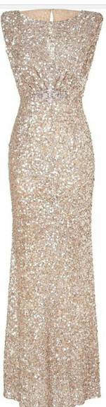dress sequin dress champagne dress floor length dress