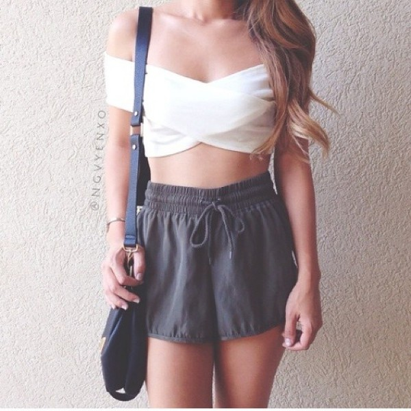blouse pretty white indie hip tumblr hippie hipster crop crop tops off-sholder shorts grey grey grey shorts