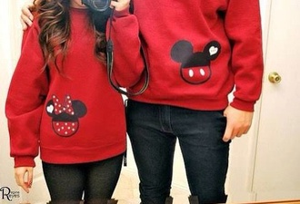 sweater 2 sweaters one has mickey and the other minnie red couple sweaters