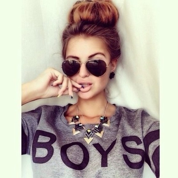 sweater sunglasses jewels shirt clothing boys london grey college grey, black, words on shirt, graphic, grey sweatshirt t-shirt quote on it