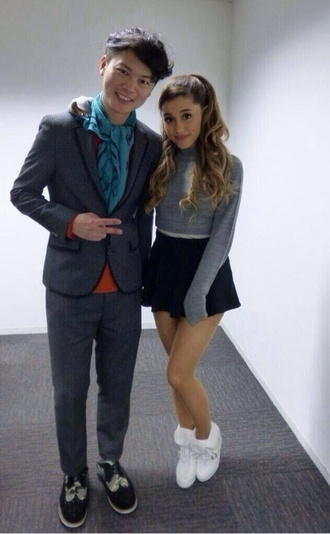 sweater ariana grande cute grey lovely girly shoes fluffy cool 90s style goth pastel goth skirt