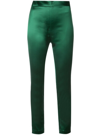 zip women spandex silk green pants