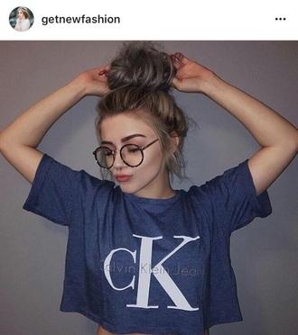 top crop tops blue dark blue calvin klein t shirt. na-kd fashion